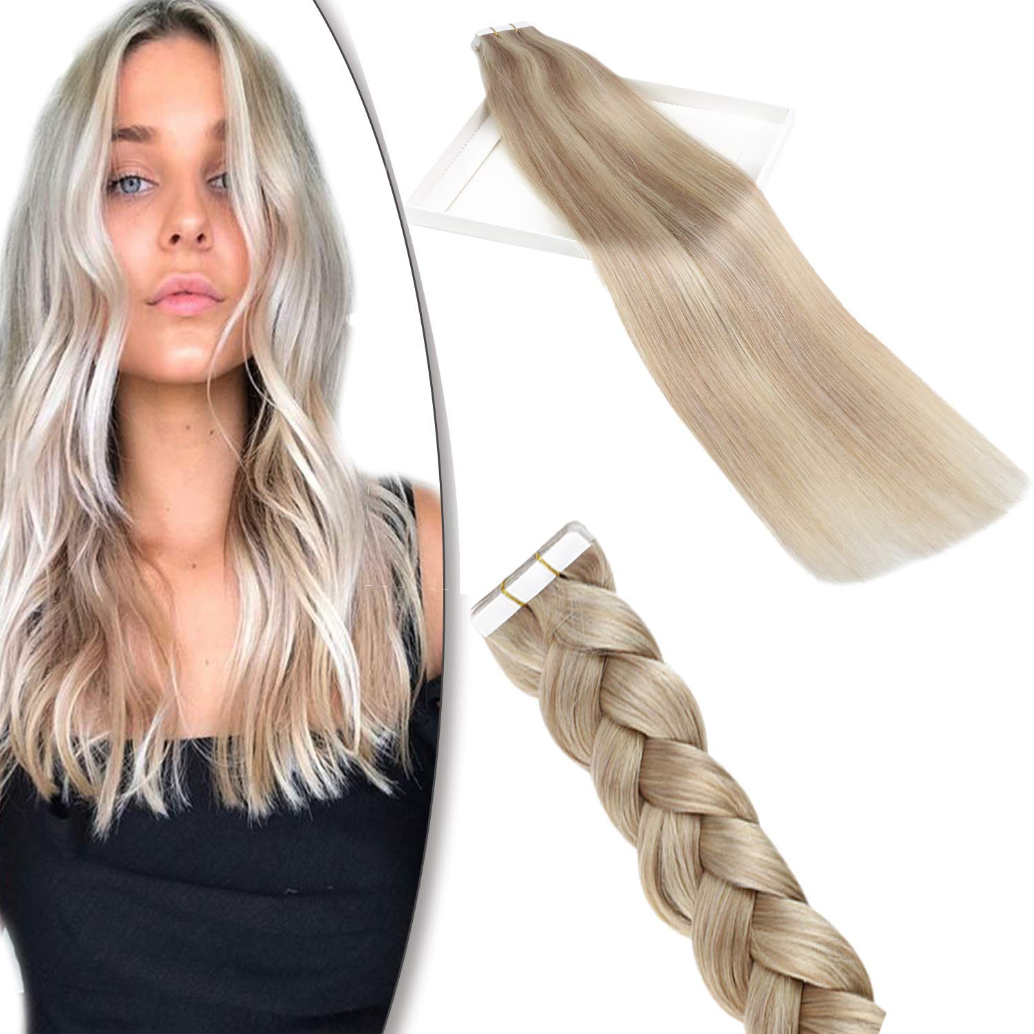YoungSee Blonde Highlight Tape in Hair Extensions Ash Blonde with Bleach Blonde Double Sided Remy Glue in Human Hair Extensions 16 Inch 10pcs 25g