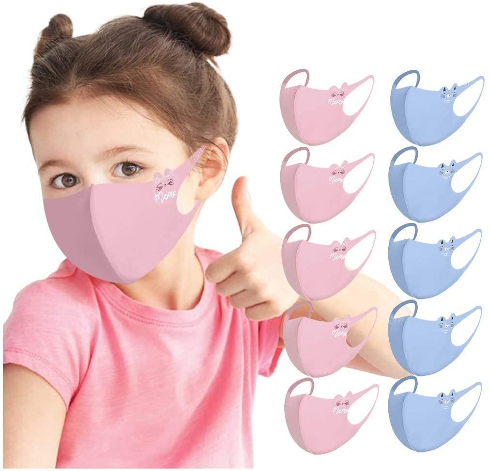 Washable Cartoon Print Face Bandanas with Elastic Ear Loops- Reusable Dust Face Mouth Bandana Breathable-Outdoor Dustproof Haze Anti-Dust Face Protection for Kids