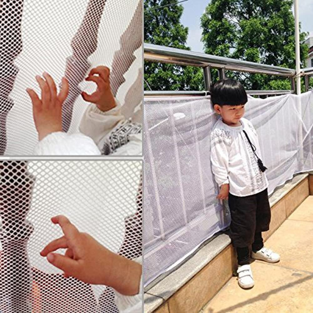 Yeefant Durable and Wear Resisting Stair Safety Balcony Protective Net Small Gridding Protection Installation Balcony Baby Secure Gate,Firm and Effective Protection, 78.7x30.3 Inch, White