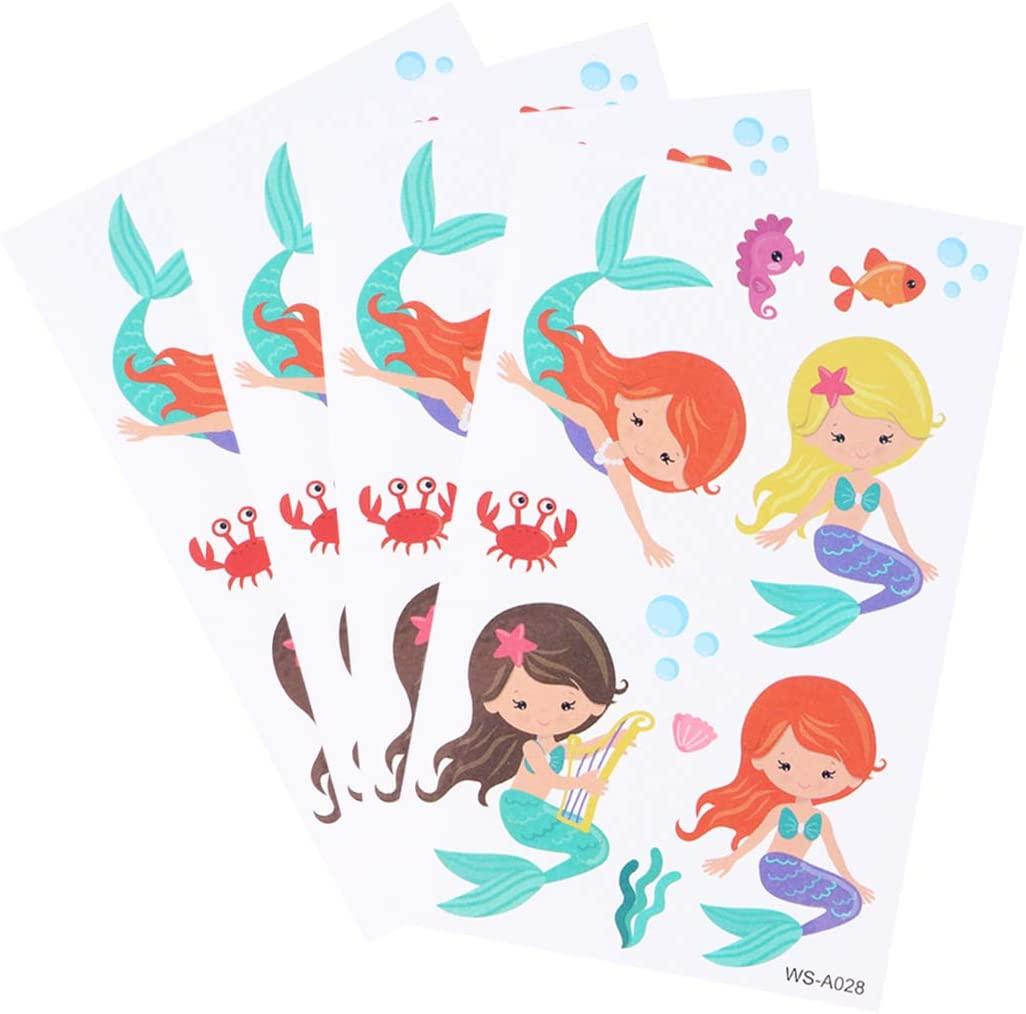 Amosfun 12 Sheets Waterproof Kids Mermaid Tattoo Stickers Temporary Tattoos Mermaid Themed Kids Birthday Party Favors Gifts(WS-A028)