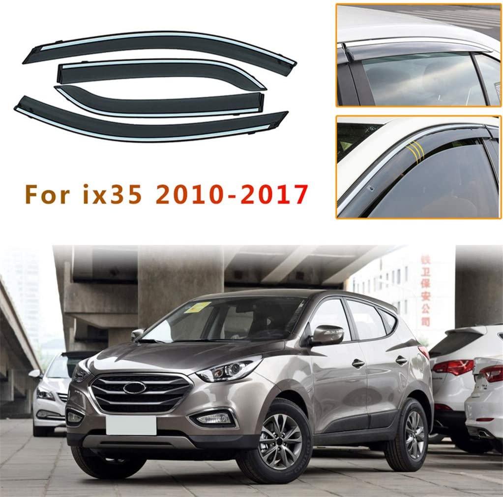 for Hyundai IX35 2010-2017 for Hyundai Santafe 2013-2017 4PCS Smoke Sun Rain Visor Deflector Guard Wind Deflectors Car Styling Front Rear Shade Window