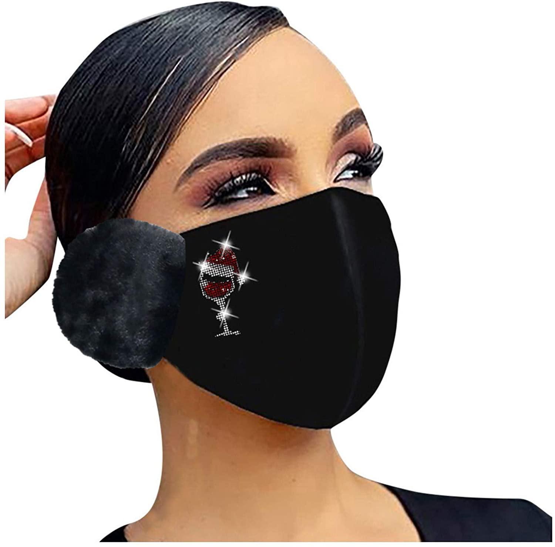 JMETRIE Adult Winter Warm Masks Color Flash Diamond Rhinestone Print Face Mask Hair Ball Hanging Ear Mask 1PC