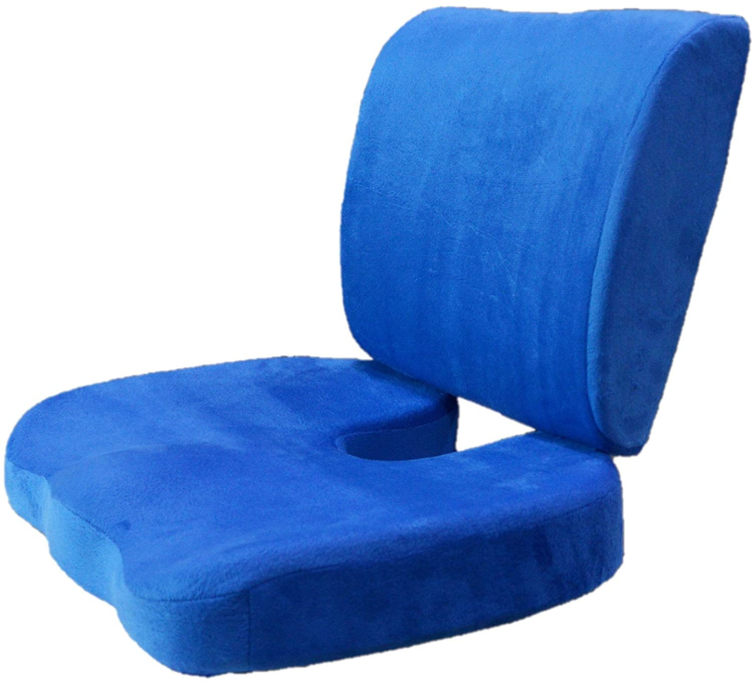 Adjustable Strap Lumbar Back Cushion and Seat Cushion: Back Support Pillow Memory Foam Car Office Chair (Blue Cushion and Seat Cushion)