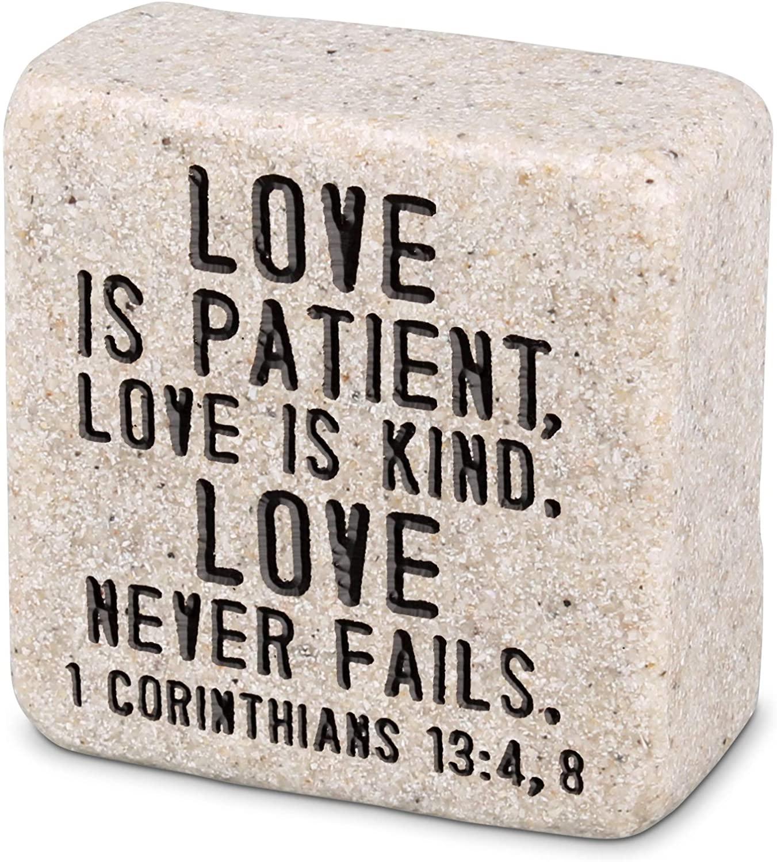 Lighthouse Christian Products Love Never Fails Scripture Block 2.25 x 2.25 Cast Stone Plaque