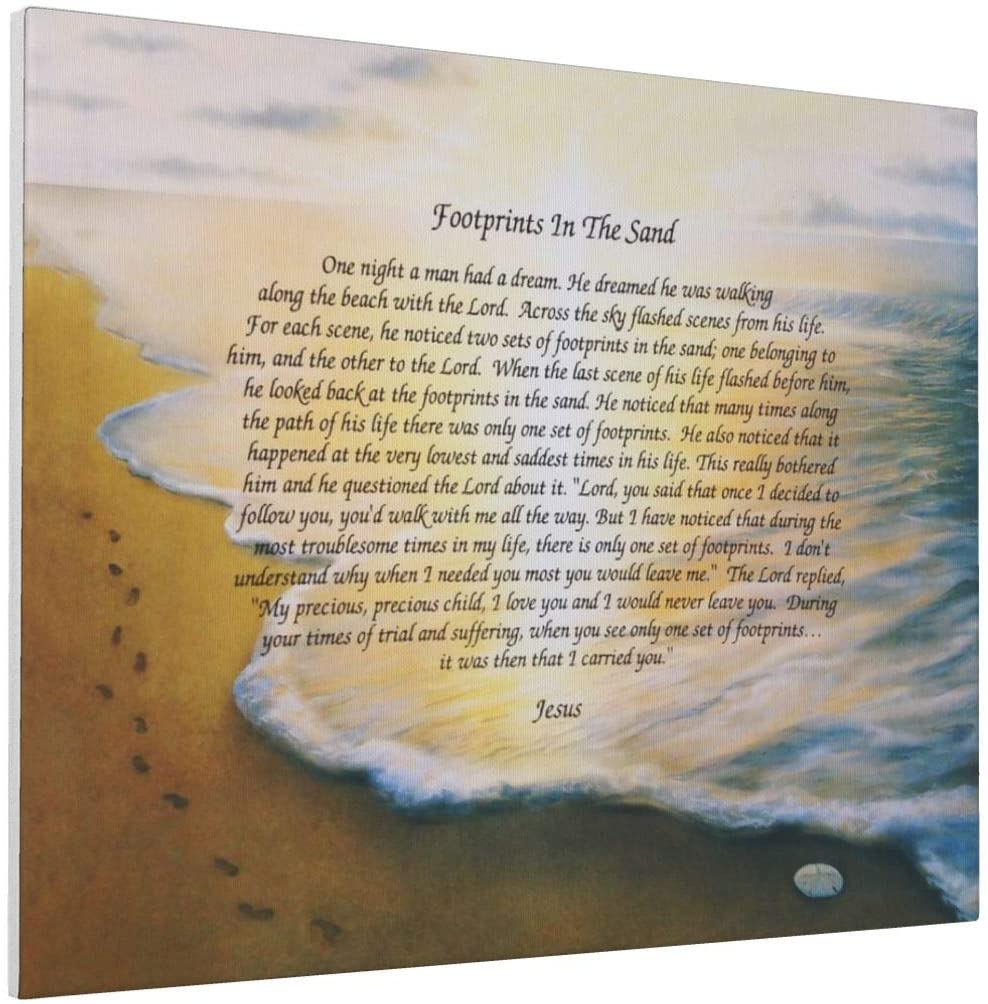 AIWO Footprints in The Sand Poem Photo Drawing Printed Art Poster Modern Home Decor Wall Art Home Decorations for Home or Office Decorations