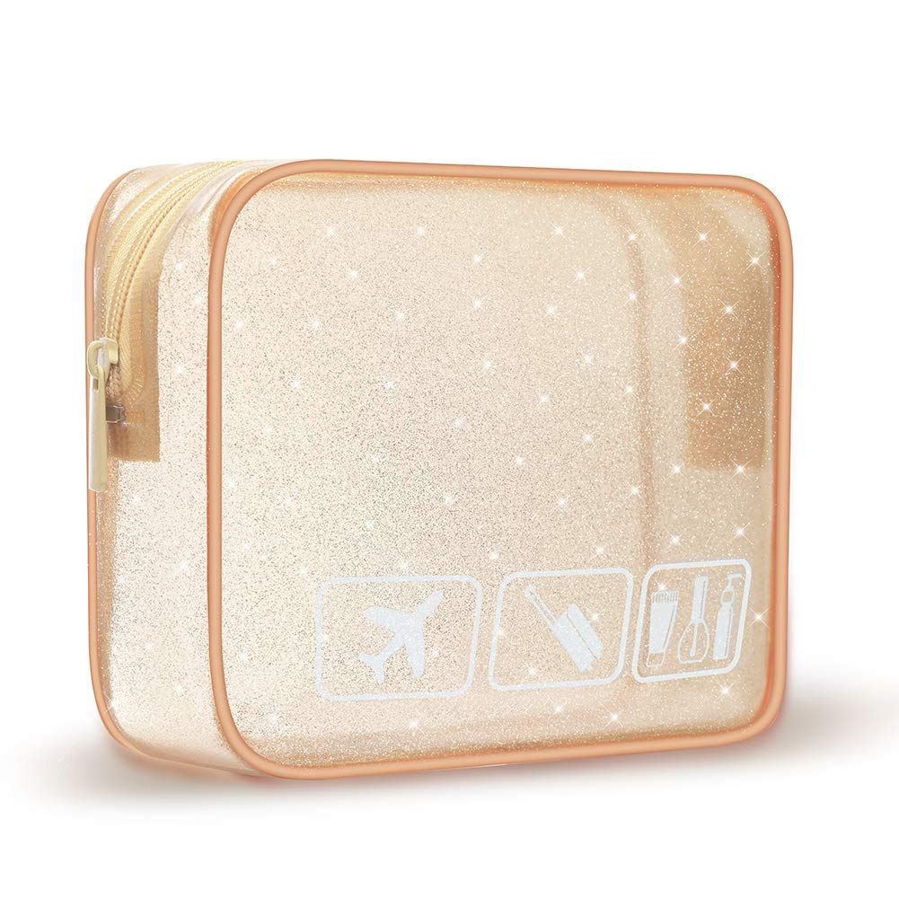 Durable Waterproof Toiletry Travel Bag Multifunction Storage Organizer Cosmetic Bag for Women and Girls (Gold)