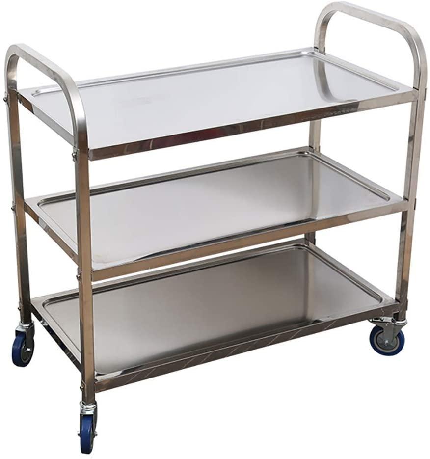 All Metal Bathroom Storage Cart Utility Trolley Kitchen Living Room Storage Rack Rack LEBAO (Color : 3-Tier, Size : 85 x 45 x 90cm)