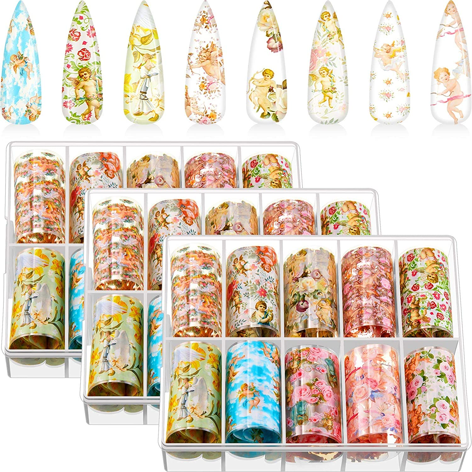 30 Rolls Nail Transfer Stickers Angel and Flower Mixed Style Nail Stickers Transfer Decal Nail Art Decorations Tips Charms Accessories for DIY Nail Decoration, 3 Boxes