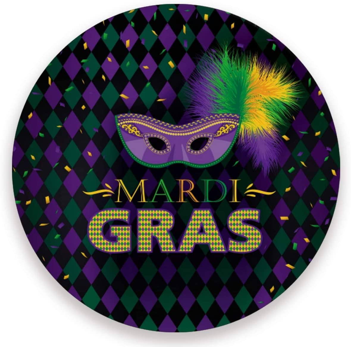 Olinyou Mardi Gras Mask Dark Zigzag Coasters for Drinks Set of 2 Absorbent Moisture Absorbing Ceramic Stone Coaster with Cork Base