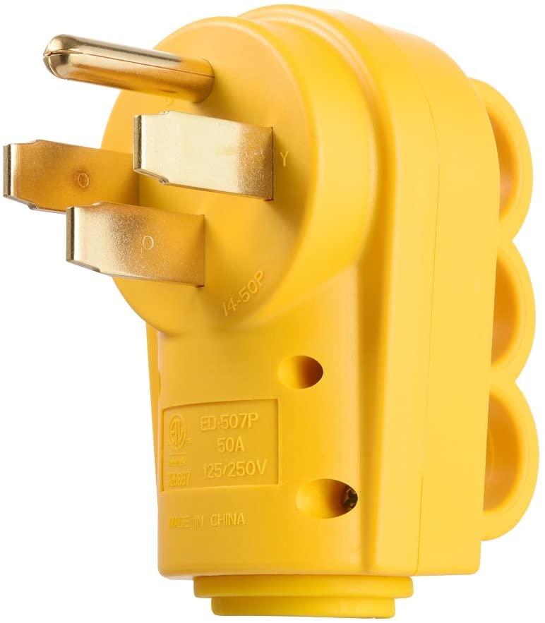 Snowy Fox RV 50 Amp Male Replacement Plug Heavy Duty with Ergonomic Grip Handle