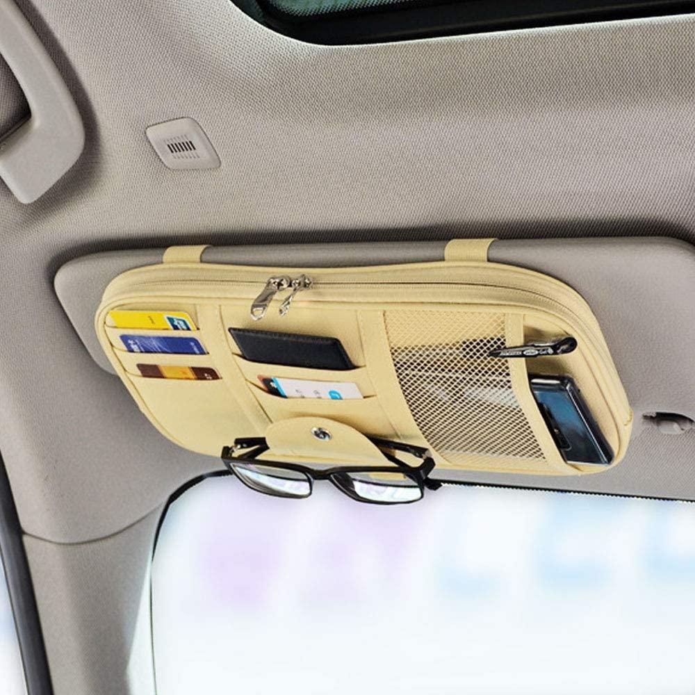 Da by Car Sun Visor Organizer Auto Interior Accessories Pocket Organizer Truck Storage Pouch Holder with Multi-Pocket Net Zipper(Beige Light Yellow)