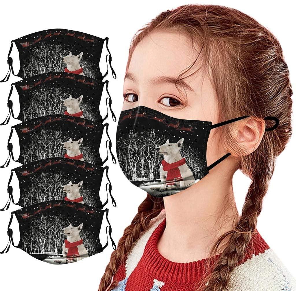 Bandanas Kids_Face_Mask Christmas Print Students Reusable Washable Cute Design Mouth Protect Breathable Boys Girls