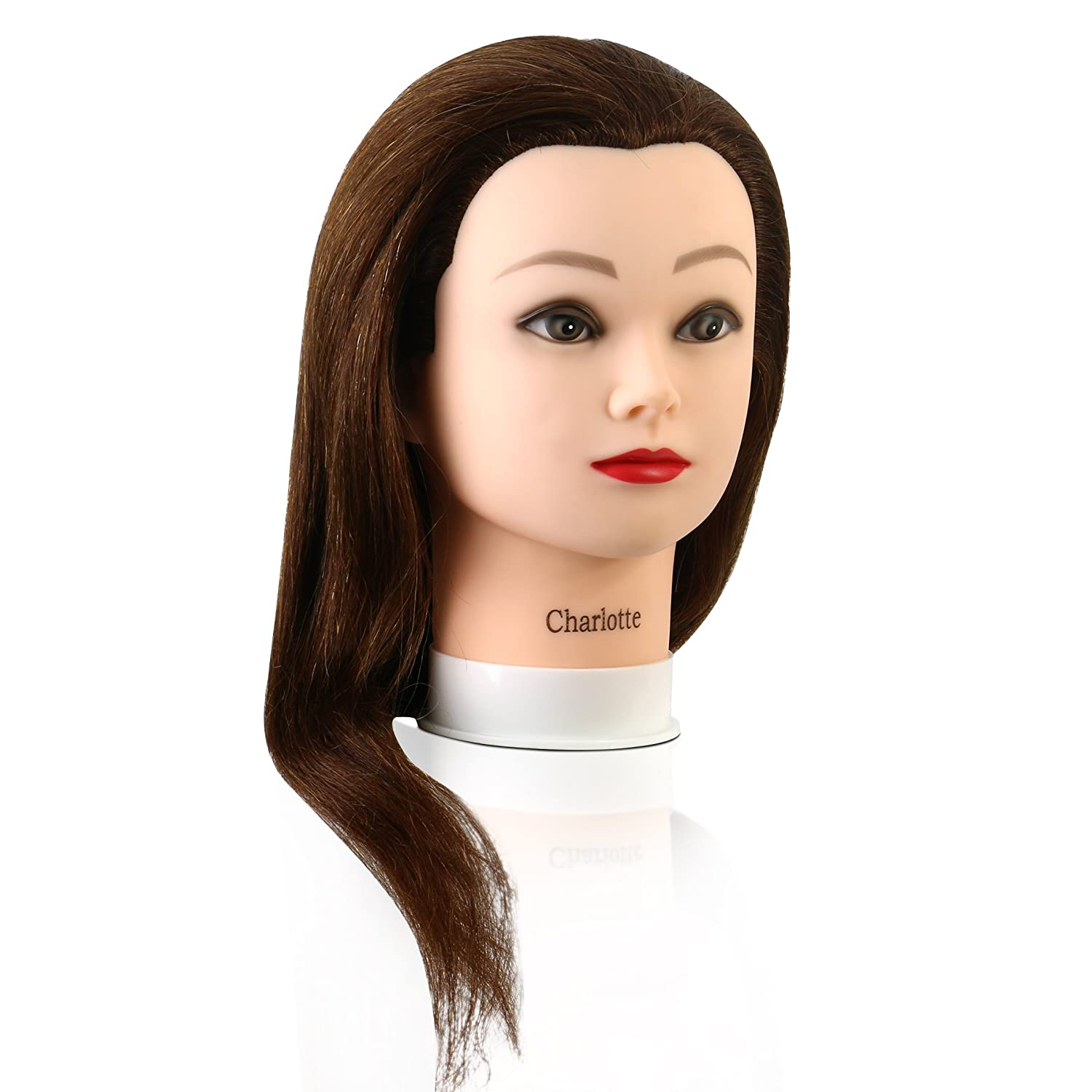 Mannequin Head with 100% Human Hair, 24 Inches Long, Auburn Shade, Hands-On Practice for Cosmetology and Hairdressing Students, by Adolfo Design