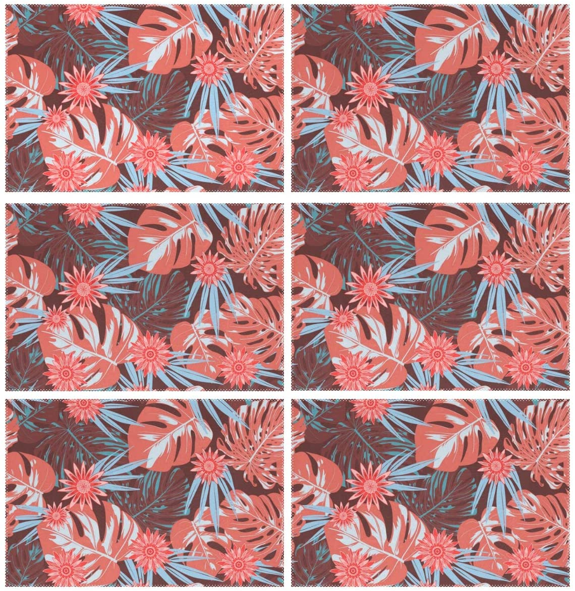 ALAZA Tropical Leaves and Stylized Flowers Placemats Set of 6 for Kitchen Dinning Table Place Mat Heat Resistant Washable Polyester Plate Mat