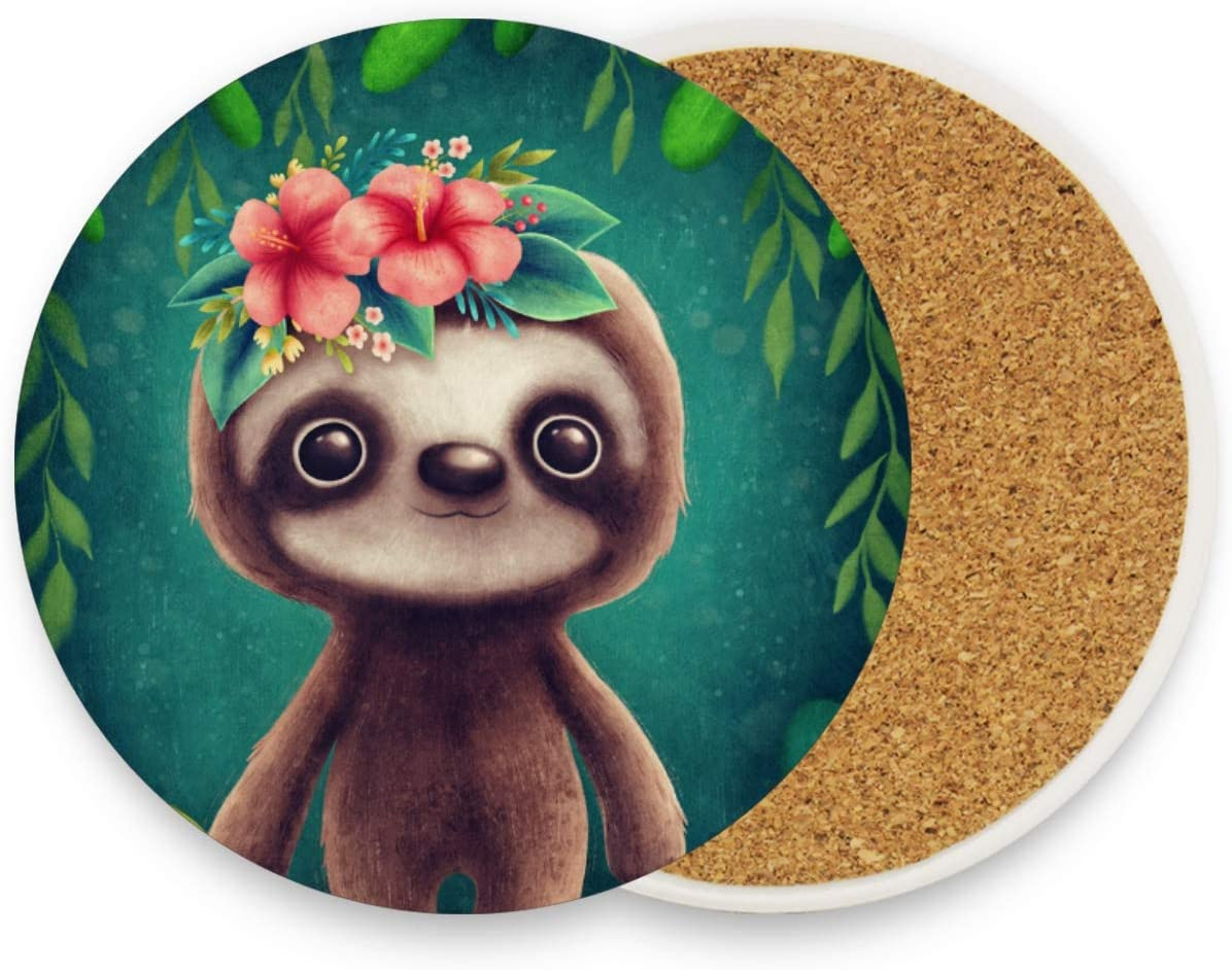 visesunny Cute Sloth Animal Drink Coaster Moisture Absorbing Stone Coasters with Cork Base for Tabletop Protection Prevent Furniture Damage, 4 Pieces