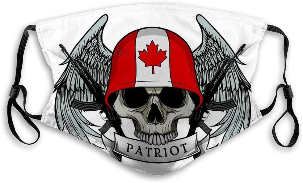 819 Mouth Mask Face Masks for Kids Teens Men Women Military Skull Patriot Canada Flag Helmet Win Outer Masks