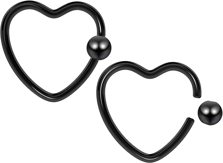 2pc 16g Heart CBR Hoop Captive Bead Ring Cartilage Daith Rook Tragus Helix Earrings Conch Auricle