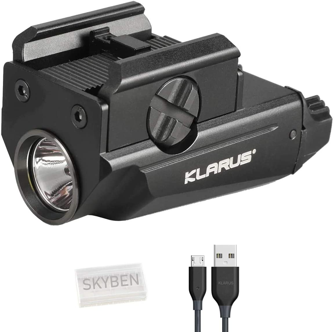 Tidusky Klarus GL1 Pistol Light 600 lumens CREE XP-L2 HD LED Rechargeable Military Tactical Rail Mounted Flashlight Waterproof IPX6 with Skyben Battery Case