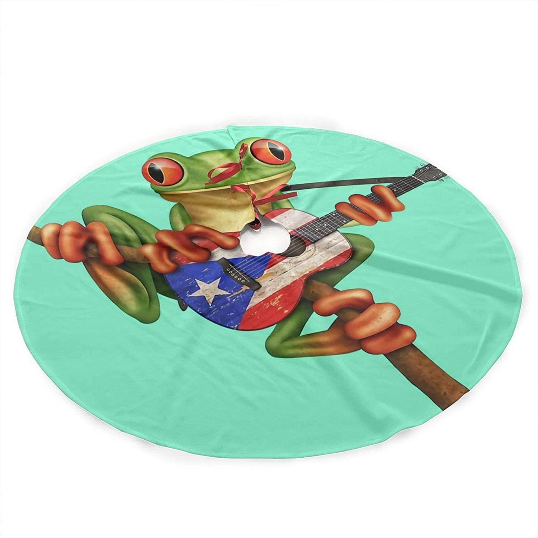 antcreptson Frog Playing Puerto Rico Flag Guitar Christmas Tree Skirt for Xmas Decoration 36 inch