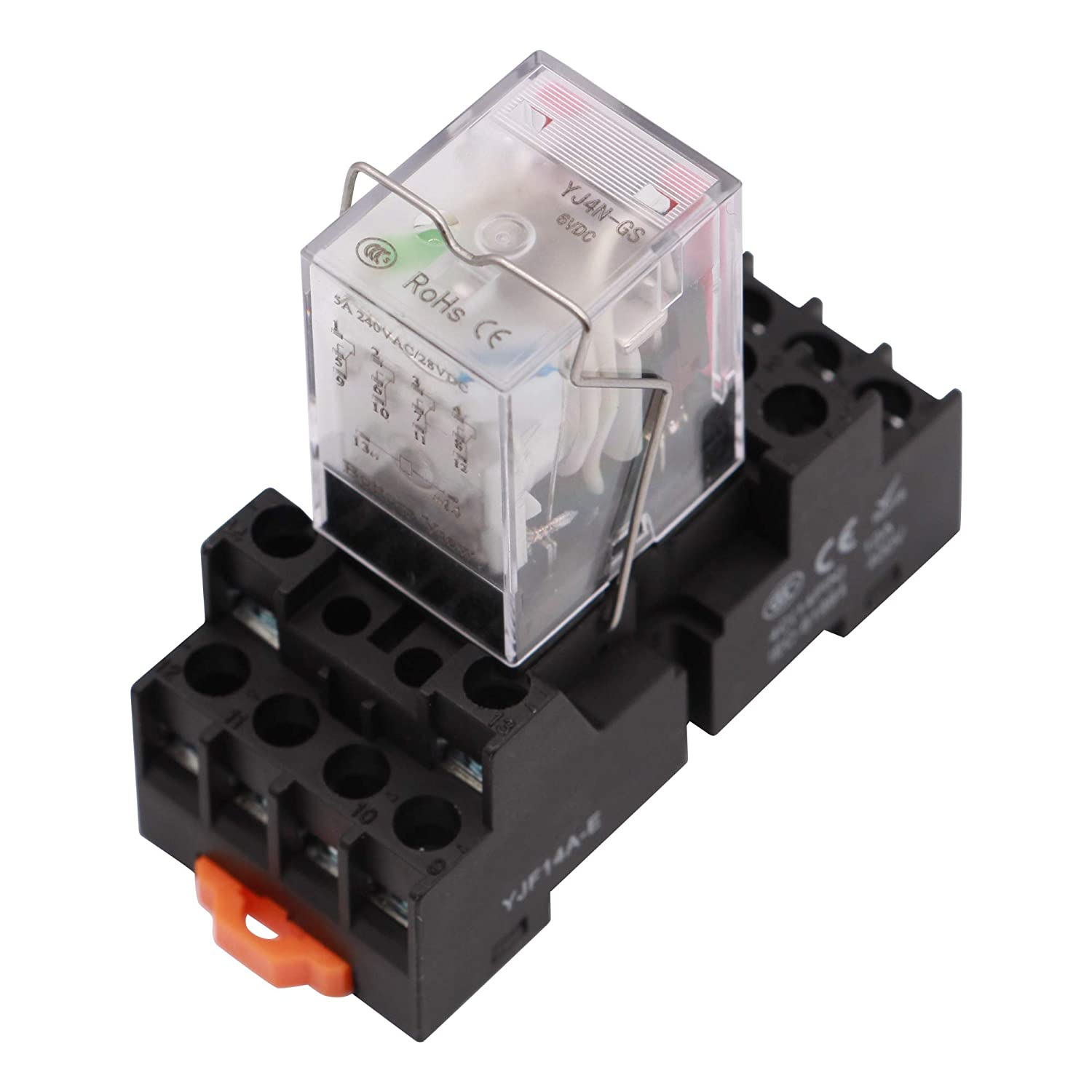 Electromagnetic Power Relay, 14-Pin 5 AMP 12V AC Relay Coil with Socket Base, LED Indicator, 4PDT 4NO 4NC - MY4NJ [Applicable for DIN Rail System]