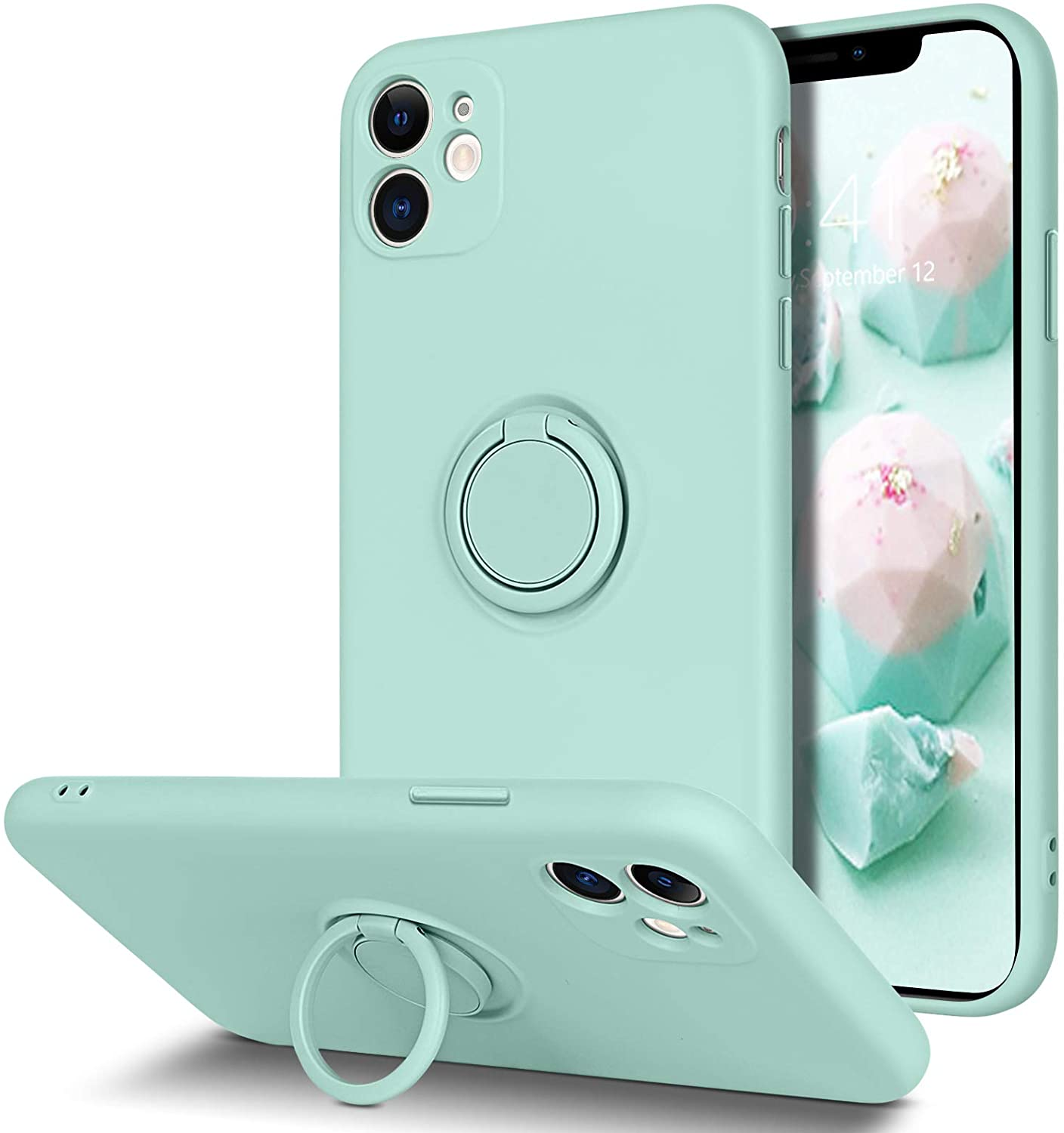 BENTOBEN iPhone 11 Case, Slim Silicone Kickstand With 360° Ring Holder Support Car Mount Soft Gel Rubber Hybrid Hard Drop Protection Shockproof Bumper Anti-Scratch NonSlip Girl Women Cover, Mint Green
