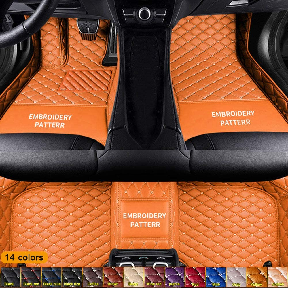 Jiahe Custom for Nissan All Models Floor Mats Full Coverage All-Weather Artificial Leather Protection Mat Waterproof & Dustproof Orange
