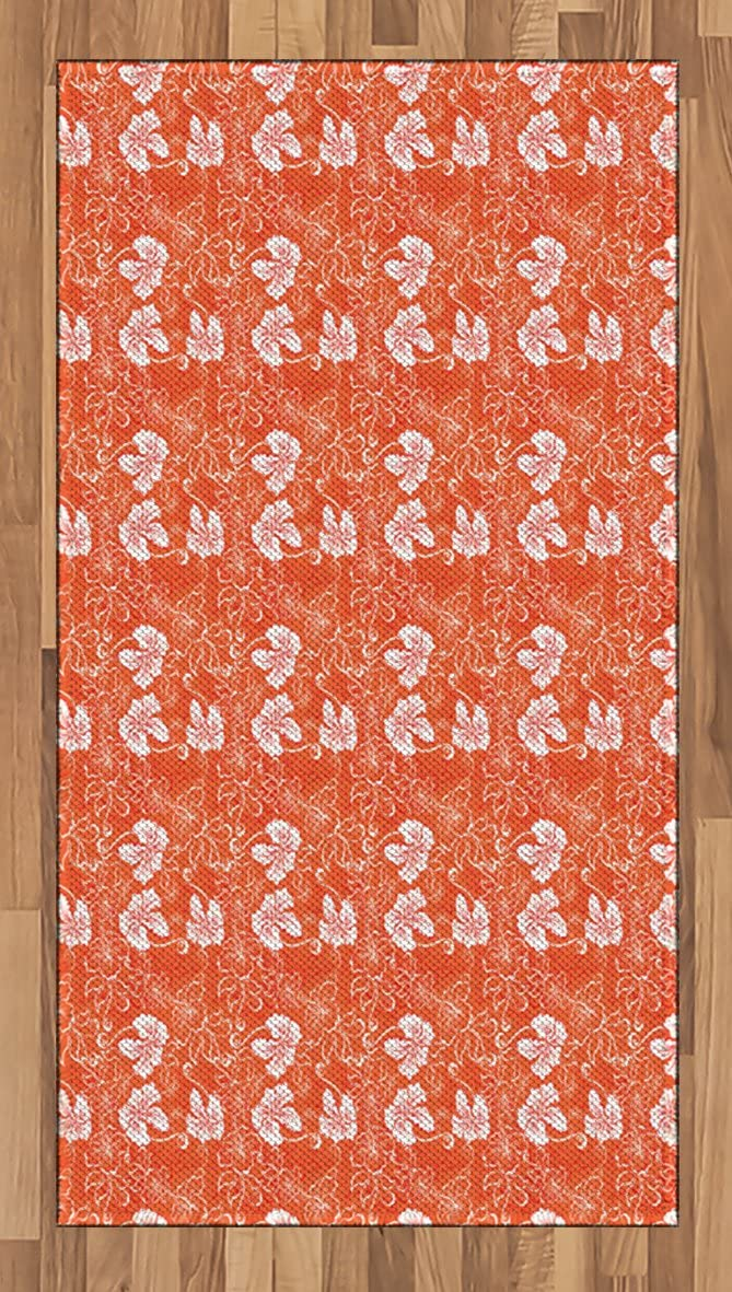 Ambesonne Burnt Orange Area Rug, Hawaiian Hibiscus Pattern with Swirls and Curves on Background, Flat Woven Accent Rug for Living Room Bedroom Dining Room, 2.6' x 5', Burnt Orange and White