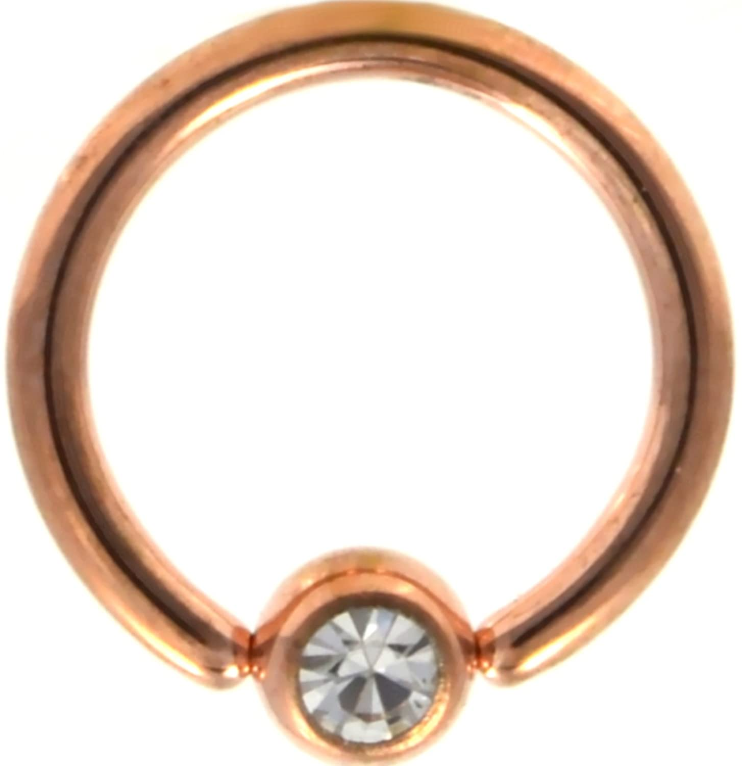 Rose Gold-Tone IP Steel Clear Crystal Accent Ball CBR Hoop Captive Bead Rings (Sold in Pairs)