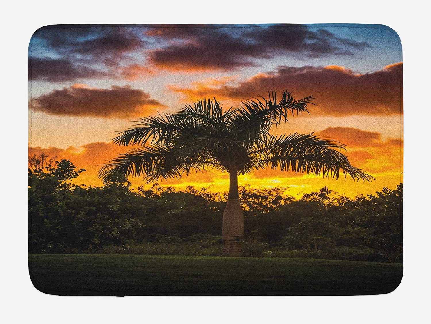 Ambesonne Palm Tree Bath Mat, Palm Tree Silhouette Scene at The Sunset Twilight Tranquility in Nature Image, Plush Bathroom Decor Mat with Non Slip Backing, 29.5