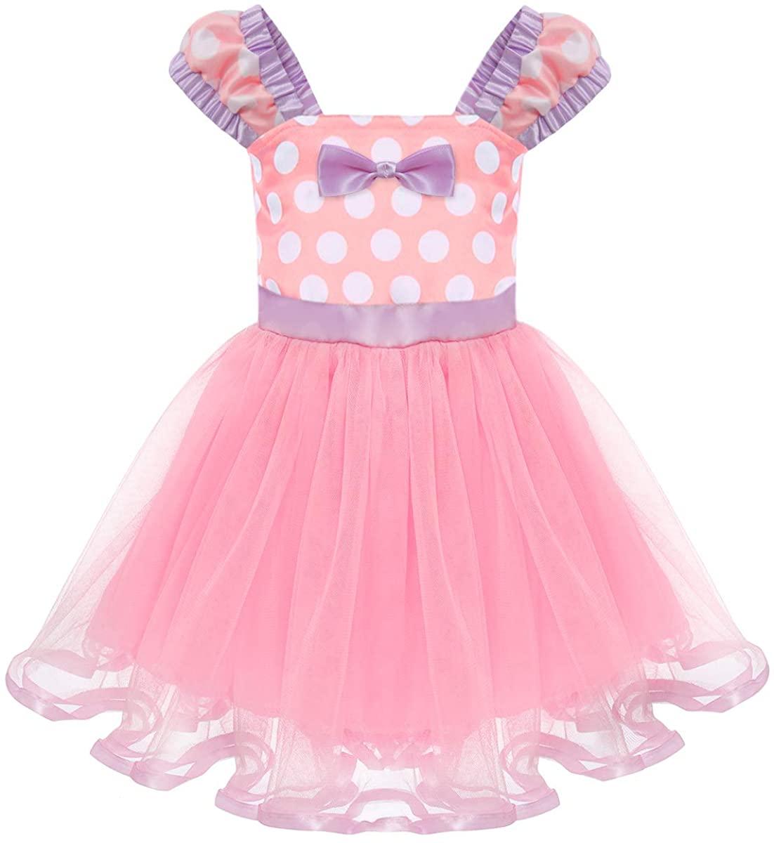 Toddler Girl Princess Polka Dots Christmas Birthday Costume Bowknot Ballet Leotard Tutu Dress Up+3D Mouse Ear Headband Light Purple Dress + Bow Ear Headband 4-5 Years