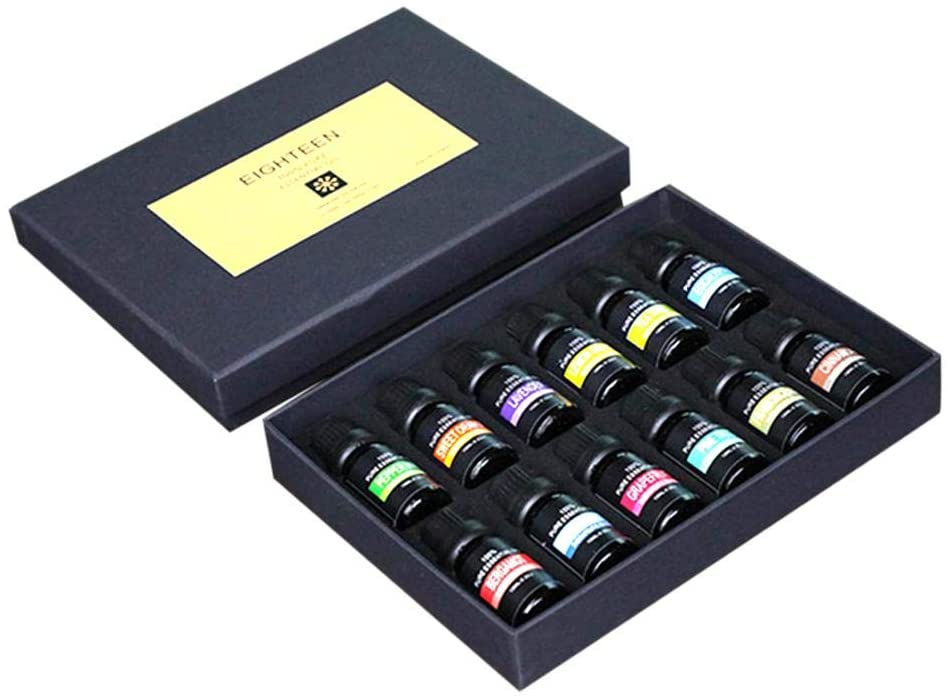 Essential Oils Set, 10ML 12pcs Organic Top Aromatherapy Pure Natural Essential Oil for Diffuser, Humidifier, Massage, Aromatherapy, Skin & Hair Care, 100 Pure Therapeutic Grade