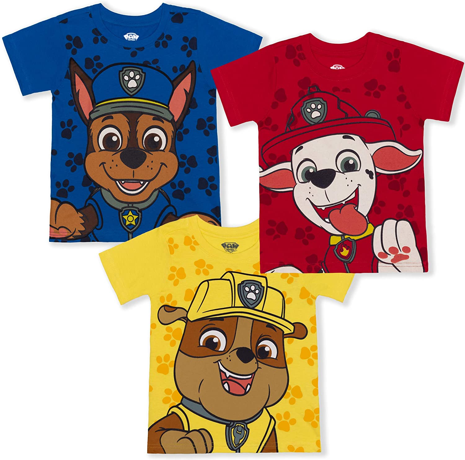 Nickelodeon Paw Patrol Boy's 3-Pack Chase, Marshall and Rubble Tees