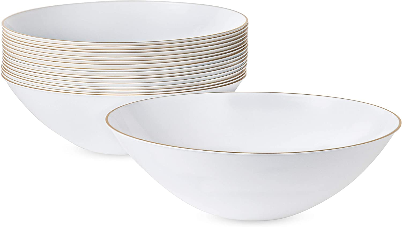 [16 OZ 10 Count] White Plastic Floral Design Party Soup bowls With Gold Rim Premium heavyweight Elegant Disposable Chanukah Tableware Dishes