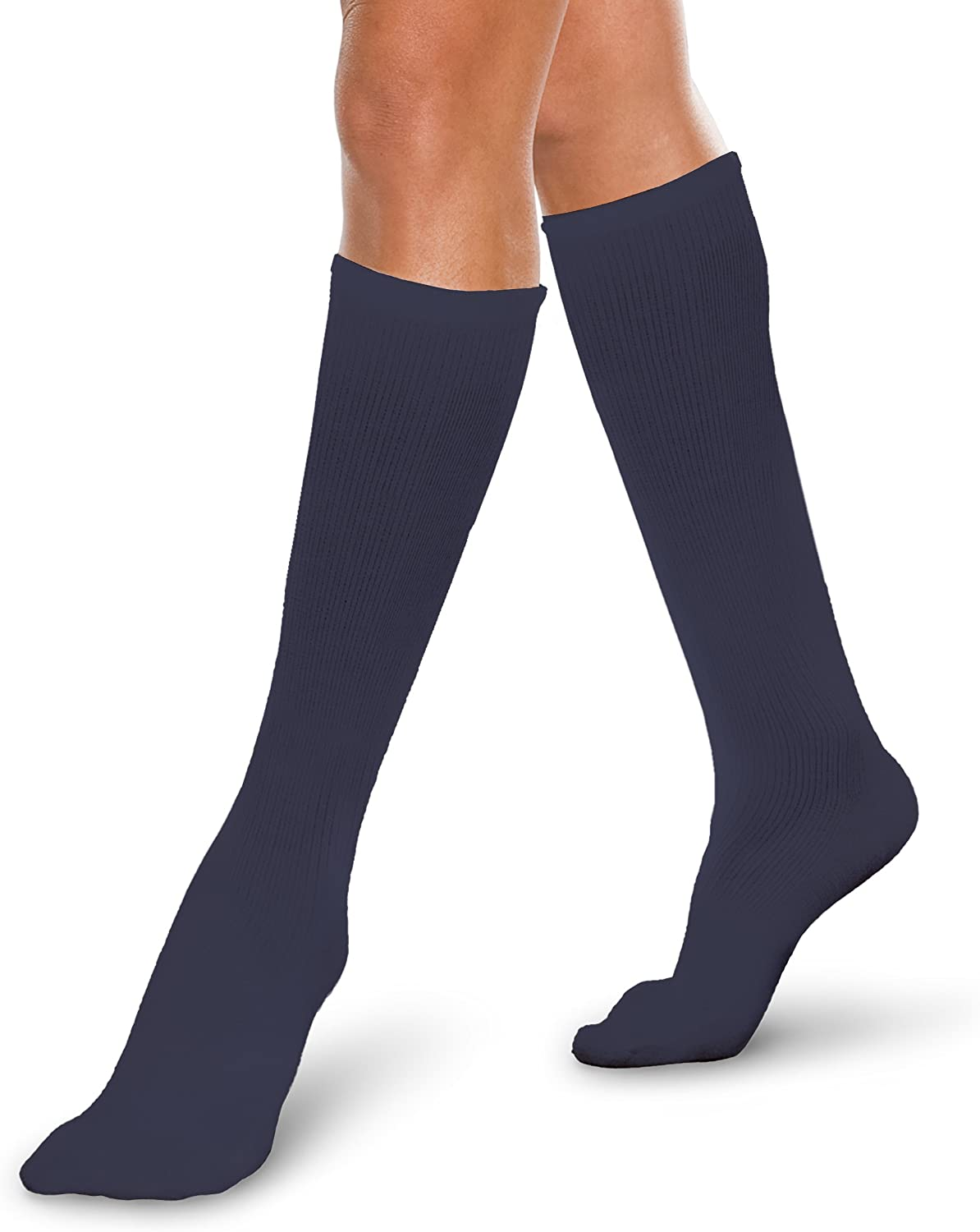 Core-Spun 20-30mmHg Moderate Graduated Compression Support Knee High Socks (Navy, Small Short)