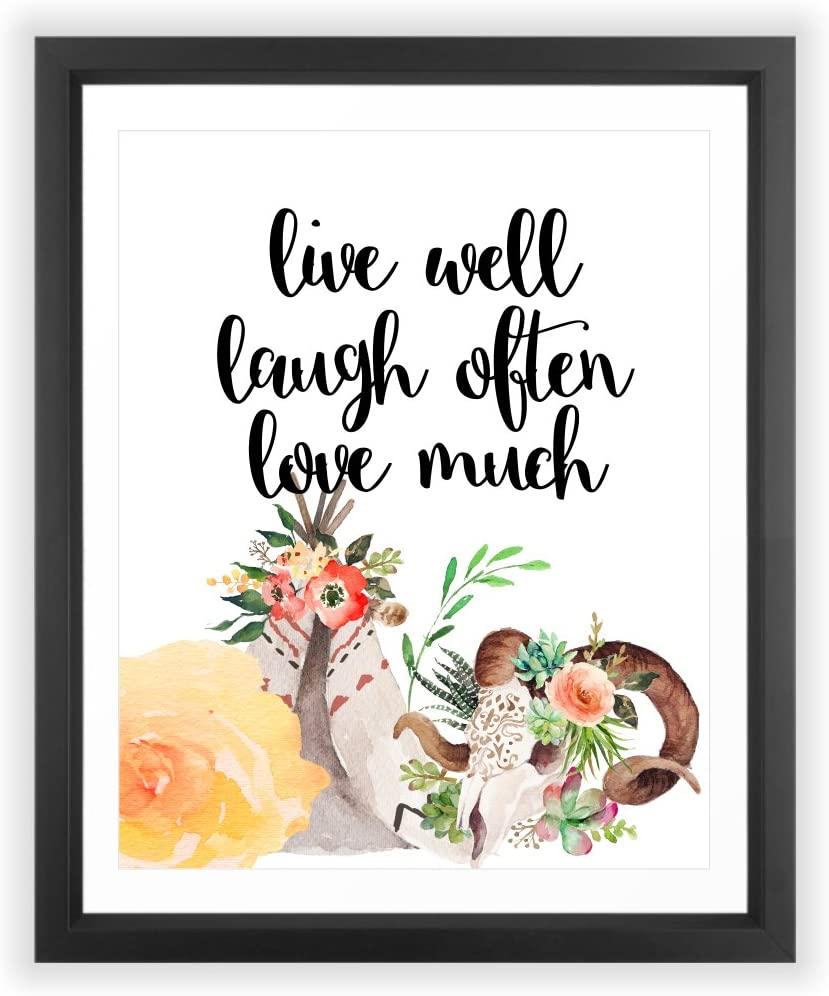 Eleville 8X10 Live Well Laugh Often Love Much Floral Watercolor Art Print (Unframed) Quote Art Family Rules Home Decor Inspirational Poster Birthday Wedding Gift WG046