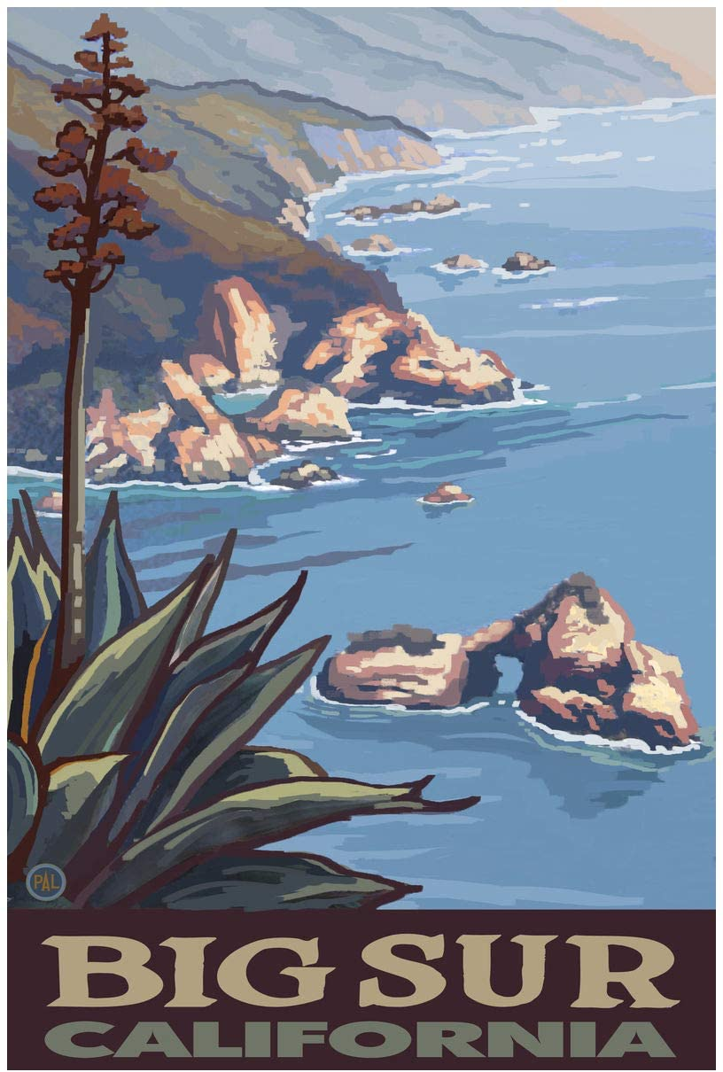 Big Sur California Coastline Giclee Art Print Poster from Original Travel Artwork by Artist Paul A. Lanquist 24