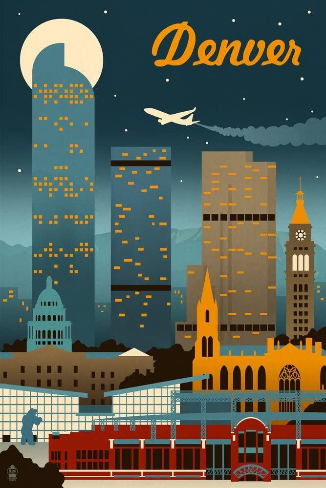 Denver, Colorado - Retro Skyline (9x12 Art Print, Wall Decor Travel Poster)