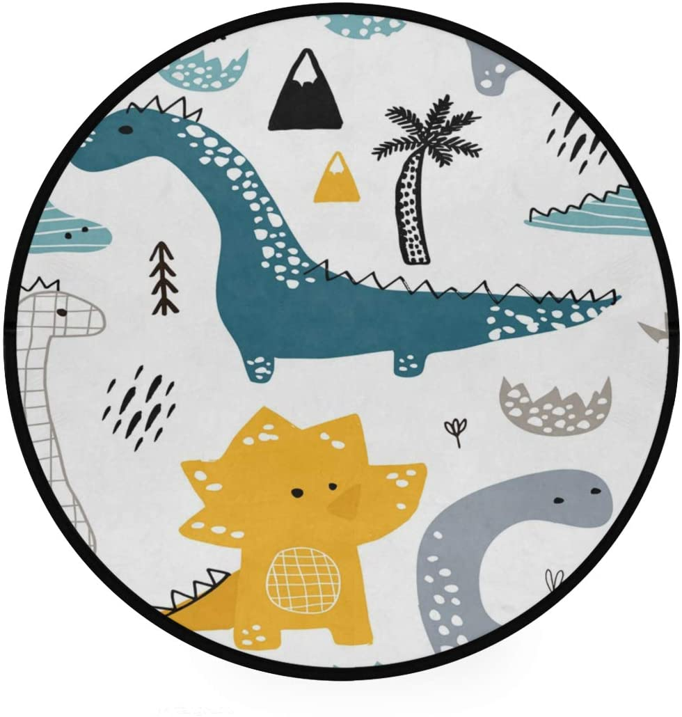 Palm Tree Dinosaur Forest Soft Spa Polyester Round Bath Mat or Rug Place in Front of Shower, Vanity, Bath Tub, Sink, and Toilet, 36 Area Rugs