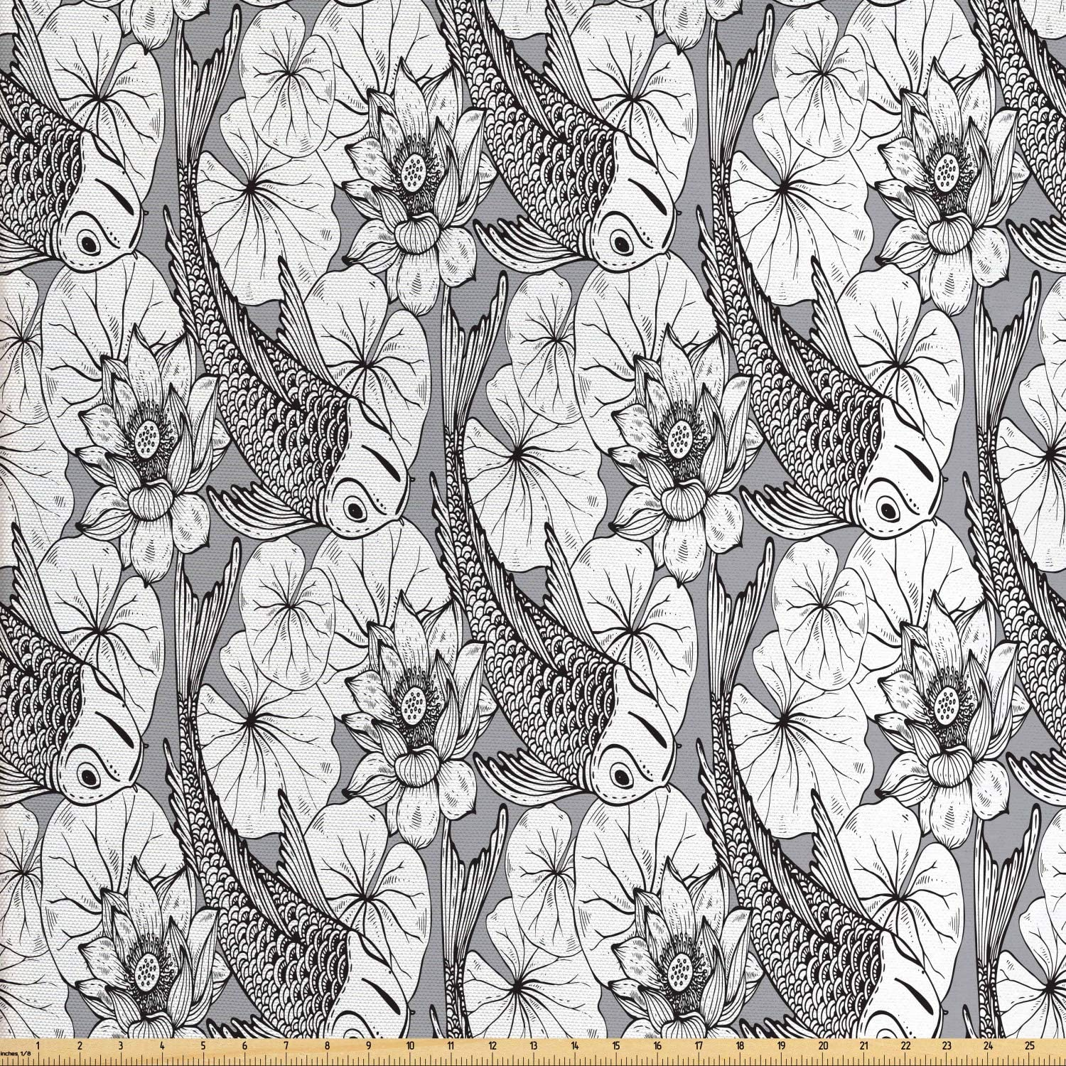 Ambesonne Asian Fabric by The Yard, Sketch Style Lotus and Carp Koi Fish Japanese of Friendship Monochrome, Decorative Fabric for Upholstery and Home Accents, 10 Yards, White Grey