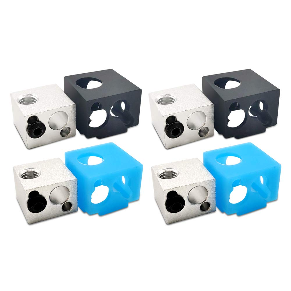 [Pack of 4set] BP6/E3D V5 Extruder Aluminum Heater Block with Silicone Cover Sock (2black&2blue) Fit J-Head Hotend Bowden Extruder to Thermistor