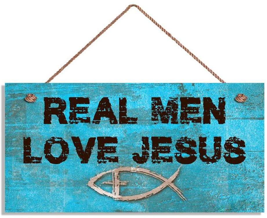 Aianhe Real Men Love Jesus Sign, Blue Grunge Christian Sign, Christian Fish Symbol, 6