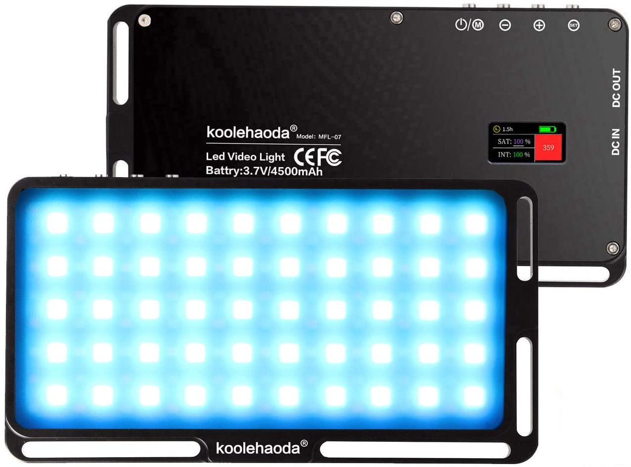 Koolehaoda RGB LED Video Light 6 Light Modes, CRI 96+ 3000K-6500K Dimmable, with Type C Port USB DC Output Power Bank Feature and Magnetic Attachment
