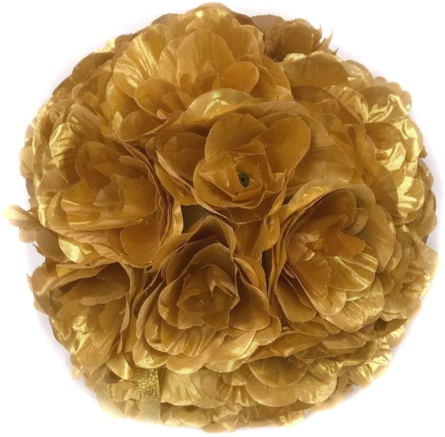 Ben Collection Fabric Artificial Flowers Silk Rose Pomander Wedding Party Home Decoration Kissing Ball Trendy Color Simulation Flower (Gold, 25cm)