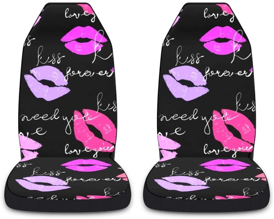 CUXWEOT Kiss Lipstick Car Seat Covers for Front Set of 2 Vehicle Seat Protector Car Pet Mat Fit Most Car,Truck,SUV,Van