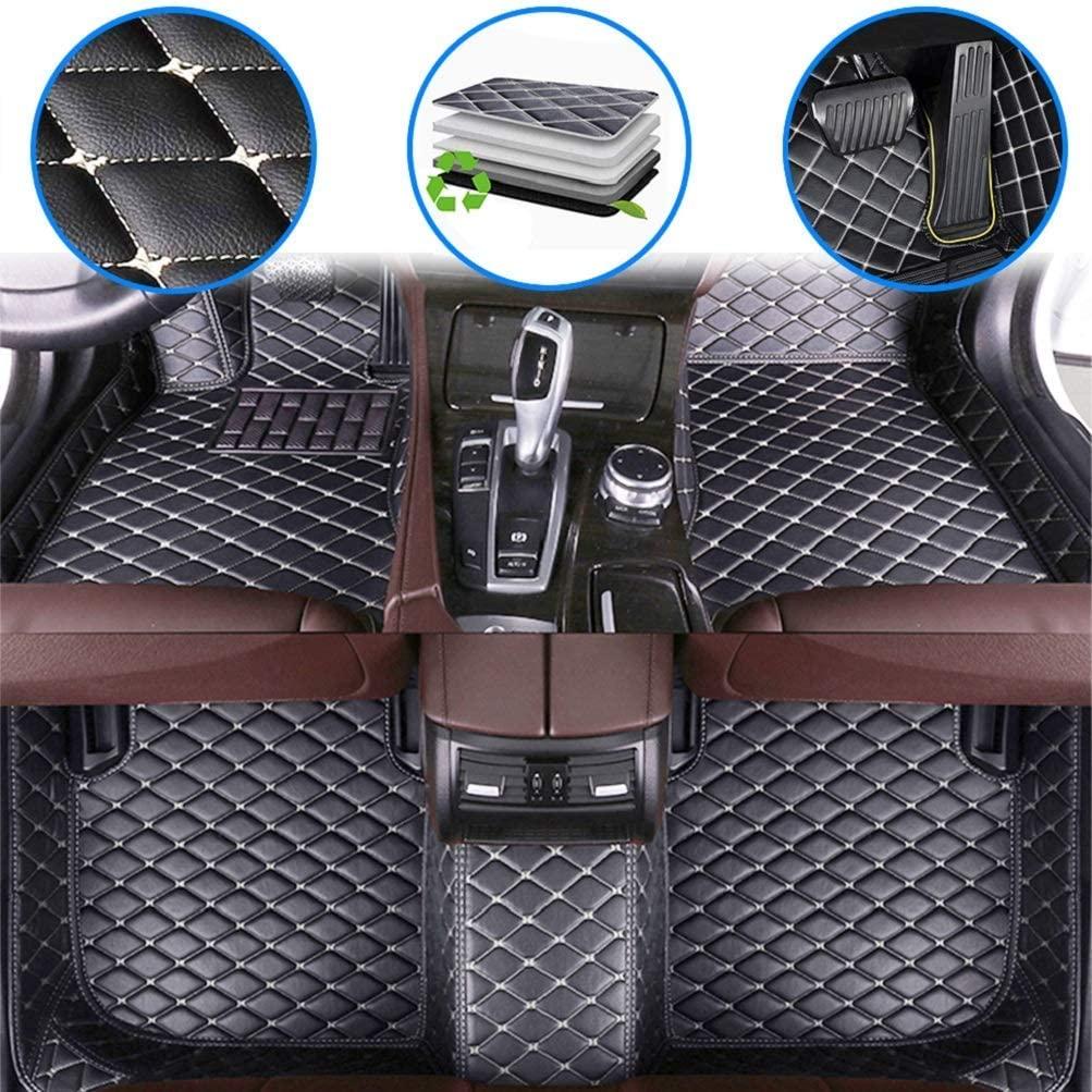 Maiqiken Auto Custom Floor Mats for Infiniti Q50 Sport 2014-2019 Waterproof Leather Carpet Anti-Slip Full Surround Liners Black Beige
