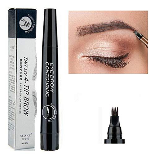 Eyebrow Pen Waterproof Tip Eyebrow Tattoo Pencil Cosmetic Long Lasting Natural Dark Brown Liquid Eye Brow Pencil (05Black)