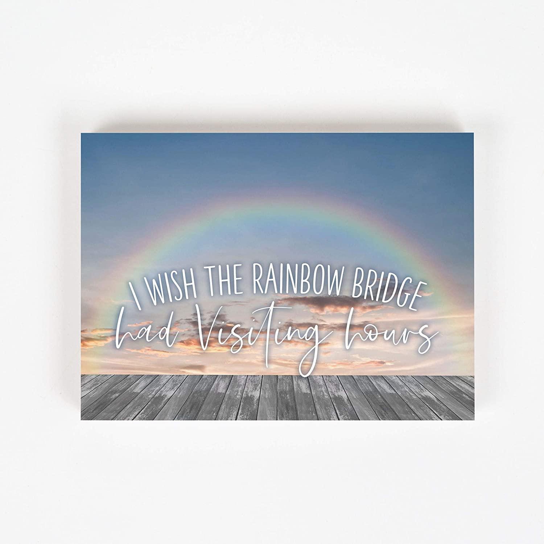P. Graham Dunn Rainbow Bridge Visiting Hours Clouds 7.25 x 5.38 Pine Wood Word Block Plaque