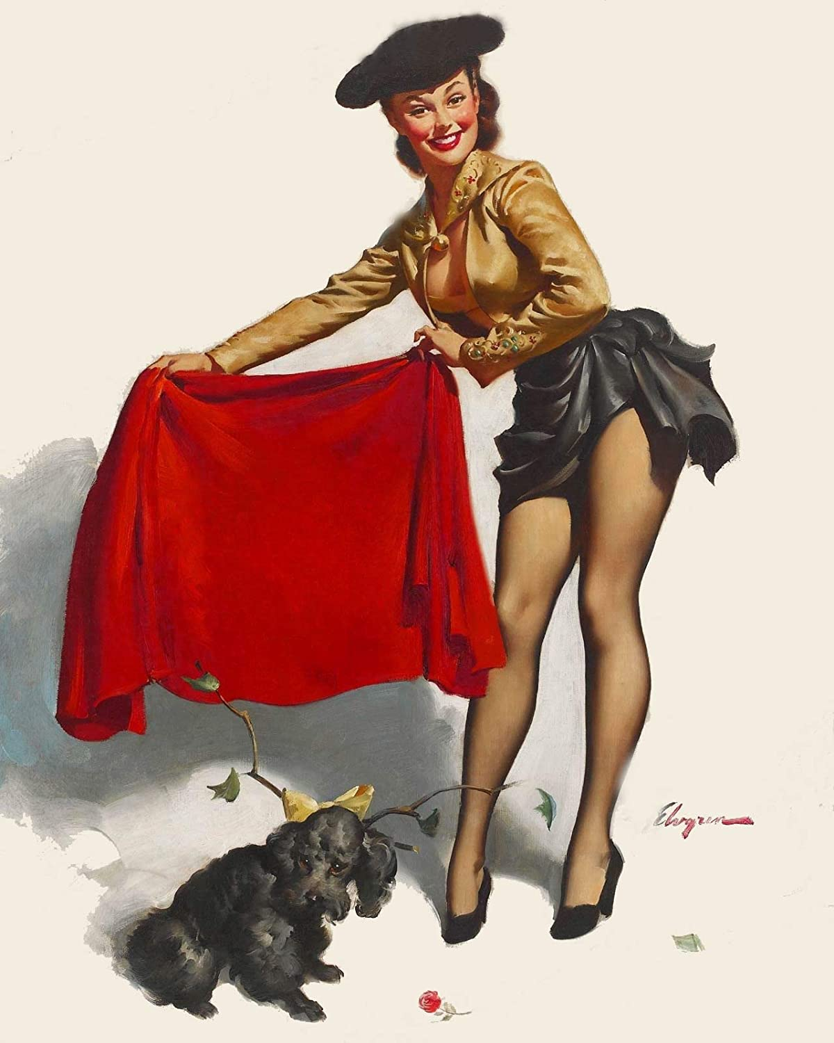 Magnet Aw-Come One 1953 Elvgren Pin-Up Girl Bull Fighter Magnet Vinyl Magnetic Sheet for Lockers, Cars, Signs, Refrigerator 5
