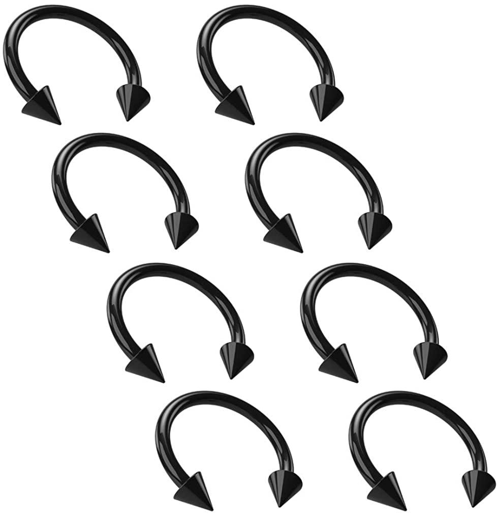 Bling Piercing 8pc 16g Black Horseshoe Earrings Anodized Circular Barbell Ring Hoop Spiked for Men Women
