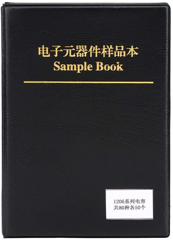 Black Plastic Resistance Sample Book 1206 80 Value Capacitors Kit Sample Book Organizer Electron Components Sample Book Kit